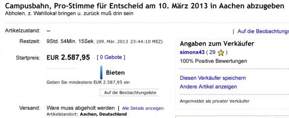 Campusbahn, Pro-Stimme für Entscheid am 10. März 2013 in Aachen